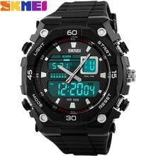 SKMEI 2017 Marque hommes Sport Montres numérique LED affichage chronographe multiple time zone 50 M étanche de bain en caoutchouc montres
