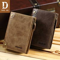 DIDE Genuine Leather Men's Wallet Short Vertical Wallet Male Brand Vintage Design Zipper Coin Purse Card Holder Dropshipping