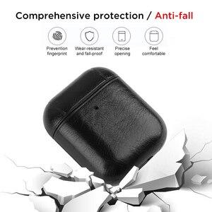 Image 5 - Sac de luxe pour Apple AirPods Bluetooth sans fil écouteur housse en cuir pour Air Pods 1 2 Funda couverture boîtier de charge