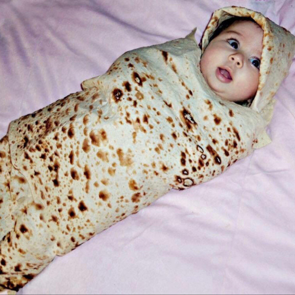 1 Set Burrito Blanket Baby Flour Tortilla Swaddle 100% Cotton Flannel Blanket Sleeping Swaddle Wrap Hat For Baby Sleep