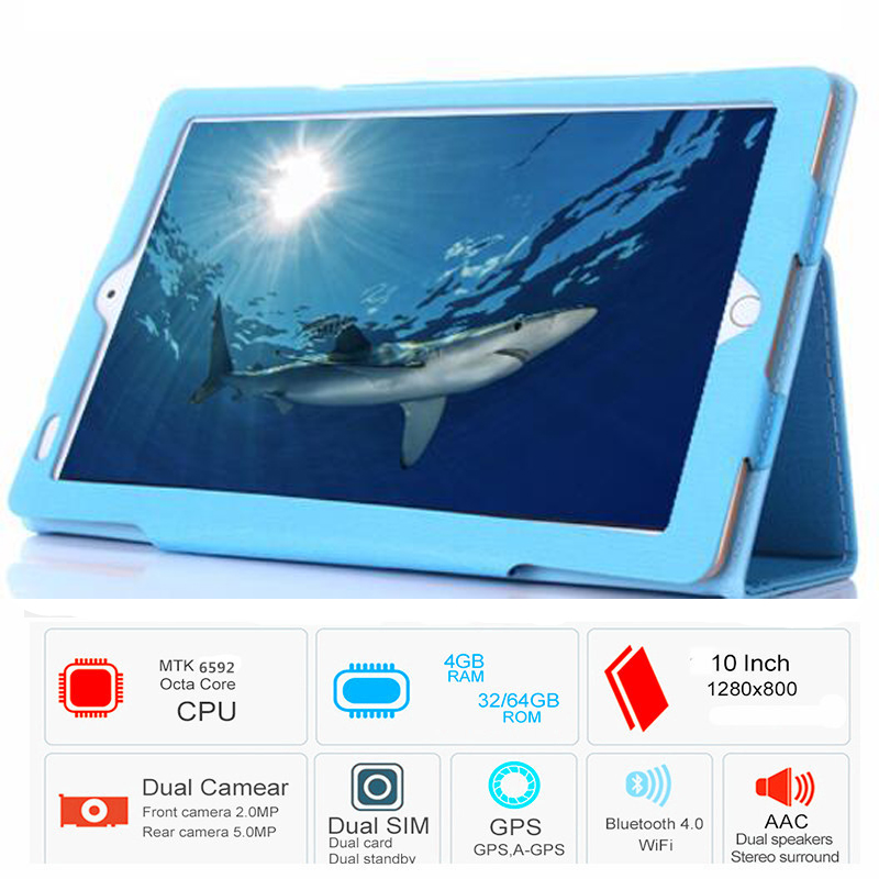 2018 New Octa Core 3G  GPS The Tablet 4GB RAM 32GB ROM  Dual Cameras 5MP Android 6.0  Tablet 10.1 Inch Free Gift Case  Cover
