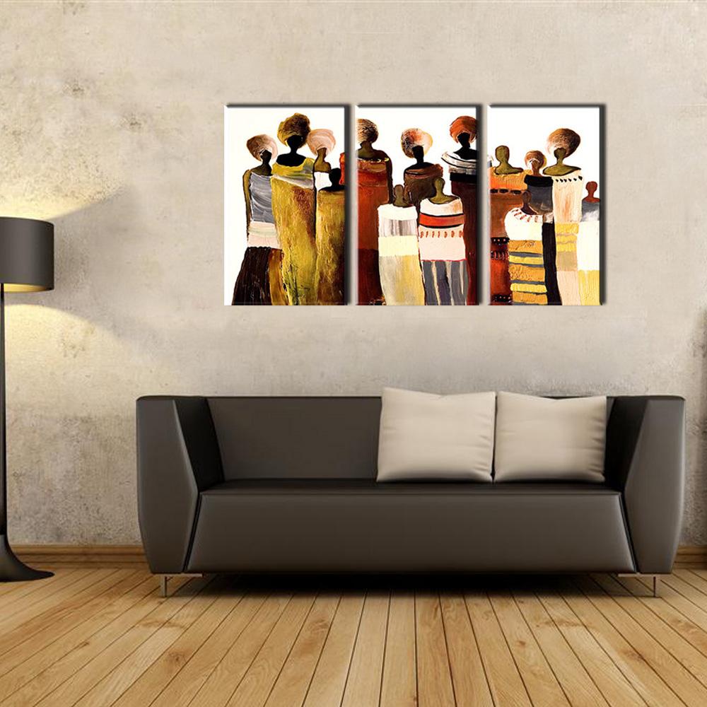 3 stück moderne leinwand kunst handgemachte afrikanische frauen ölgemälde auf leinwand für wohnzimmer wandbild küche dekoration