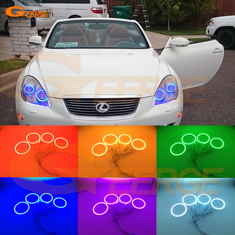 For lexus SC 430 SC430 2005 2006 2007 2008 2009 2010 Excellent RGB led Angel Eyes kit Multi-Color Ultrabright RGB LED Angel Eyes