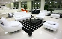 Luxury Pearlescent Genuine Leather Sofa Filled With Feather Down Confortable Top Grain Leather Sofa With Leisure