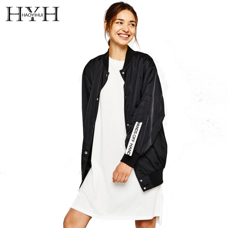 HYH HAOYIHUI Women Fashion Contrast Letter Embroidery Loose Basic Jacket Casual Long Sleeve Bomber Jackets Women Coat Outwear