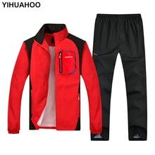 YIHUAHOO chándal hombres 4XL 5XL de los hombres ropa deportiva de primavera y otoño chándal conjunto de dos piezas de ropa de chándal casual de los hombres YB T313