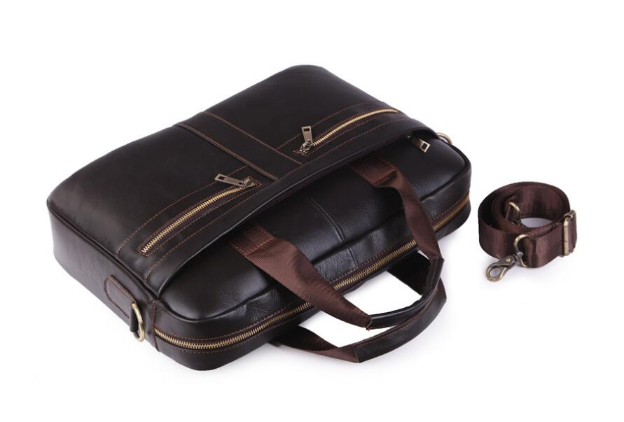 Brand Genuine Leather Shoulder Bag new Men/'s Handbag Male Cowhide Messenger Bag Cross Body Handle Pack 15/' Briefcase Portfolio