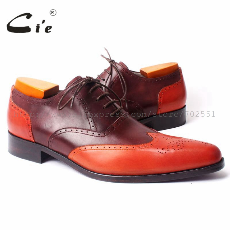 cie Full Brogues 100% Genuine Calf Leather Handmade Men's Pointed Toe Carving Oxford Craft Shoe Color Matching as Picture ox301 купить часы haas lt cie mfh211 zsa