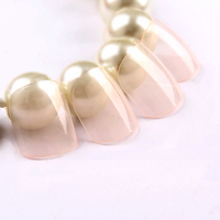 Recycle Use Nail Art Tips ColorWomen Nude Pink Color French False Nail Tips Artificial style