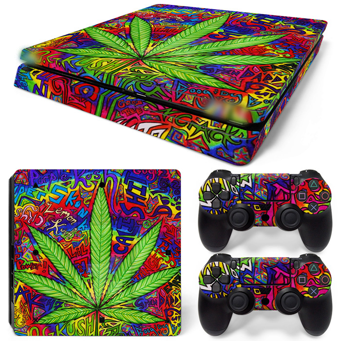 Free Drop Shipping vinyl decal covers protective skins for PlayStation 4 Slim for ps4 skin sticker-Weed TN-P4Slim-1524