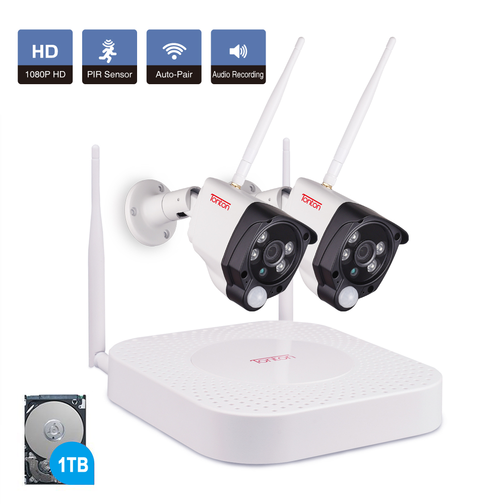 4CH 1080P Audio Outdoor Wireless Security Camera System IP WiFi 1TB HDD Infrared