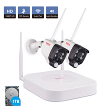Tonton 4CH 1080P Wireless CCTV Camera Security System Kit Audio Record 1TB HDD NVR wifi kit 2PCS Waterproof Outdoor IP Camera 4ch full hd 1080p 2 0mp audio 36ir night vision black metal cctv wireless dome ip camera outdoor security system 9ch nvr audio