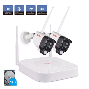 Tonton 4CH 1080P Wireless CCTV Camera Security System Kit Audio Record 1TB HDD NVR wifi kit 2PCS Waterproof Outdoor IP Camera sunell ea 92491 4ch 1080p professional ip camera