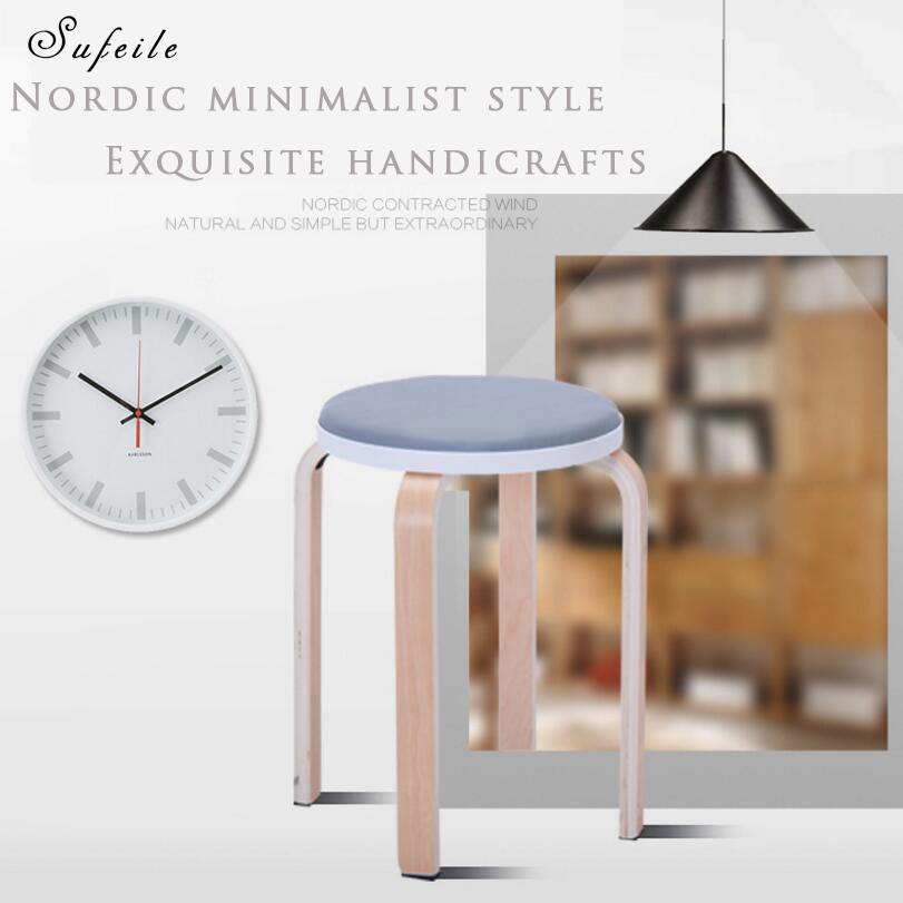 SUFEILE Portable outdoor fishing chair Solid wood yms chair simple modern leisure chair Household solid wood dining stool D50