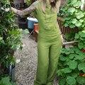 Preself buzos mujeres sexy v backless playsuit mamelucos del verano sueltan de largo los pantalones de pierna ancha de lino de algodón de moda casual trajes