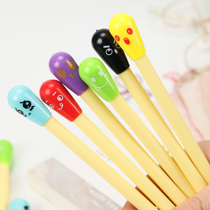 Kawaii Cartoon Erasable Pen Expression Gel Pen Matchstick Writing Signing Pen Office Material School Supplies