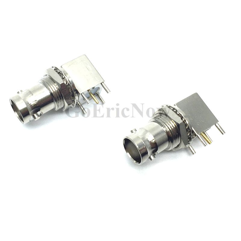 50 pcs RF Coaxial Right Angle 50 Ohm BNC Female PCB 4 Foot Connector Adapter