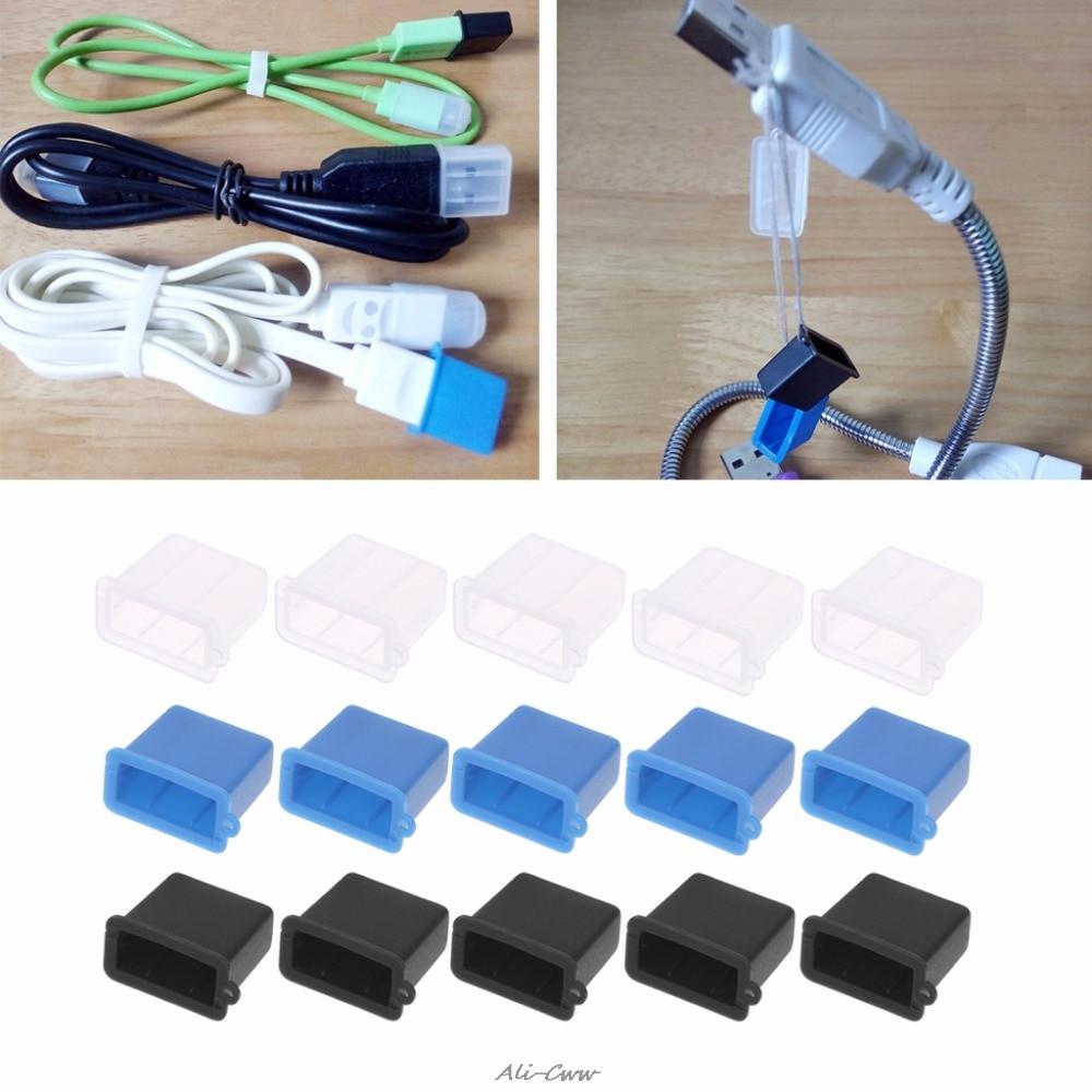 Earnest 5pcs/set Silicone Usb Type A Male Anti-dust Plug Stopper Cap Cover Protector Black/white/blue 100% Guarantee