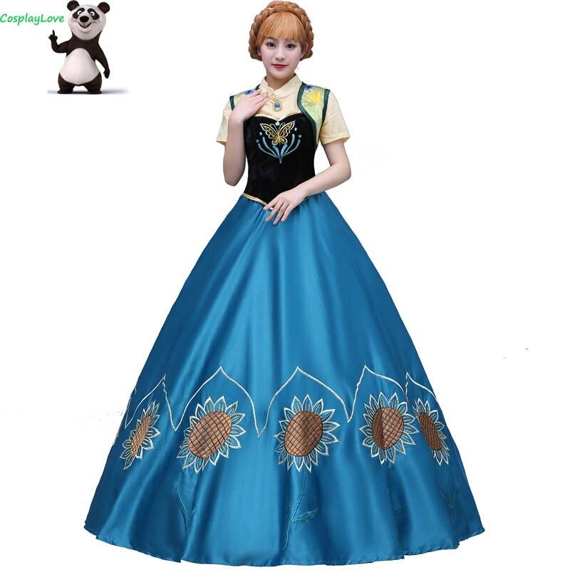 CosplayLove Movie Adult Kid Custom-made Blue Anna Princess Dress Cosplay Dress Princess Cosplay Costume