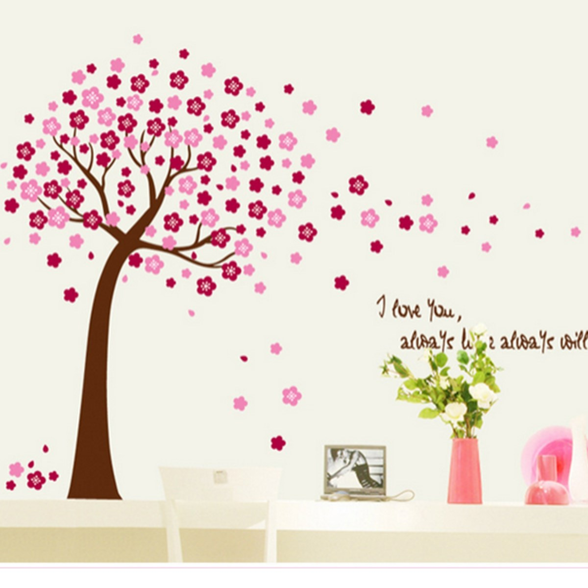 Online get cheap pink flowers trees aliexpress alibaba group beautiful design brand new giant pink cherry blossom flowers tree wall stickers decal art mural nursery dhlflorist Image collections