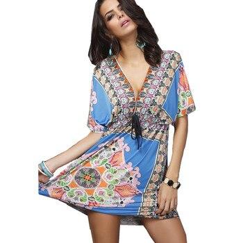 f14c250a0 Impresión mujeres vestido Deep V Retro bohemio 2016 verano moda Casual ropa  De playa elegante Vestidos De fiesta Vintage Vestidos