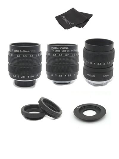 Fujian 3in1 CCTV Lens 25mm f1.4 Lens/ 35mm f1.7 Lens/ 50mm f1.4 Lens Mount Ring Kit for Olympus Panasonic Micro 4/3 M4/3 M 4/3 35mm f1 7 cctv lens macro rings c m4 3 adapter ring set for olympus panasonic silver