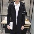 2016 de Otoño de Los Hombres Gabardina Larga Sección de Moda de Tamaño Fit Abrigo Chaqueta Masculina Ocasional prendas de Vestir Exteriores de La Chaqueta M-5XL