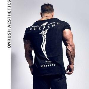 Мужская футболка из чистого хлопка, для тренировок, бодибилдинга, повседневная, облегающая, с коротким рукавом