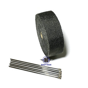 Image 3 - 10M * 2inch  Black Exhaust Heat Wrap Downpipe Engine Bay Exhaust Shields Motorcycle Exhaust Pipe Wrap Header