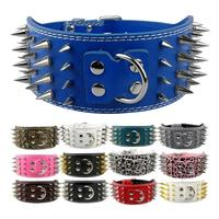 Free Shipping 3Inch Wide Spikes PU Leather Pet Dog Collar For Large Dog Pitbull Doberman S
