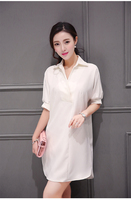 Dresses Top Fasion Hot Sale Casual Knee length Vestidos 2014 Spring Women's Jorya Shirt Lantern Sleeve One piece Dress