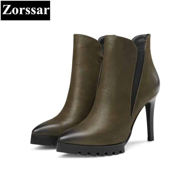{Zorssar} Large size Women shoes pointed Toe Thin heels zipper platform ankle Equestrian boots High heels womens boots winter morazora fashion punk shoes woman tassel flock zipper thin heels shoes ankle boots for women large size boots 34 43
