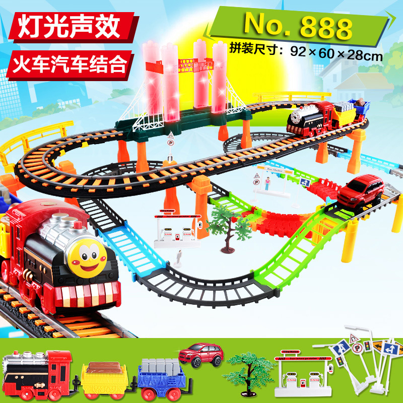 2016 electric rail car train Kids Toys Thomas small locomotive suit boy toy car racing track For childrens gift In Stock