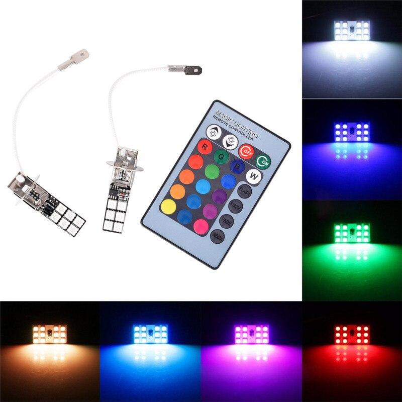 2X RGB Colorful LED Headlamps H3 5050 LED 12 SMD RGB Steering Lights Fog Lights Daylight Indicators With Remote Control2X RGB Colorful LED Headlamps H3 5050 LED 12 SMD RGB Steering Lights Fog Lights Daylight Indicators With Remote Control