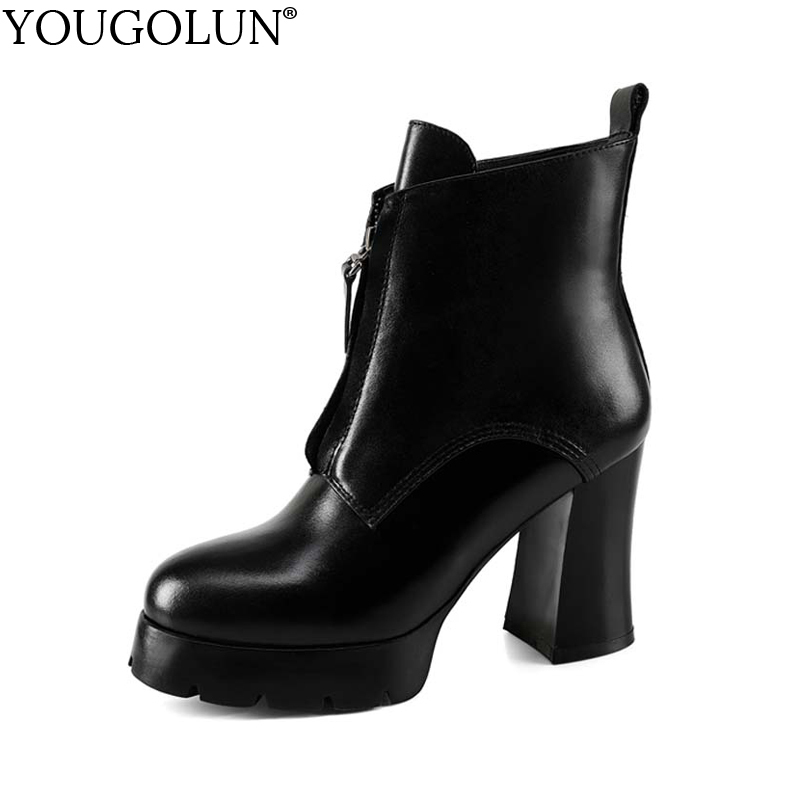YOUGOLUN Women Ankle Boots Genuine Leather Black Winter Autumn Square Heel 9.5 cm Zipper Round Toe High Heels Shoes #Y-158 nayiduyun women genuine leather wedge high heel pumps platform creepers round toe slip on casual shoes boots wedge sneakers