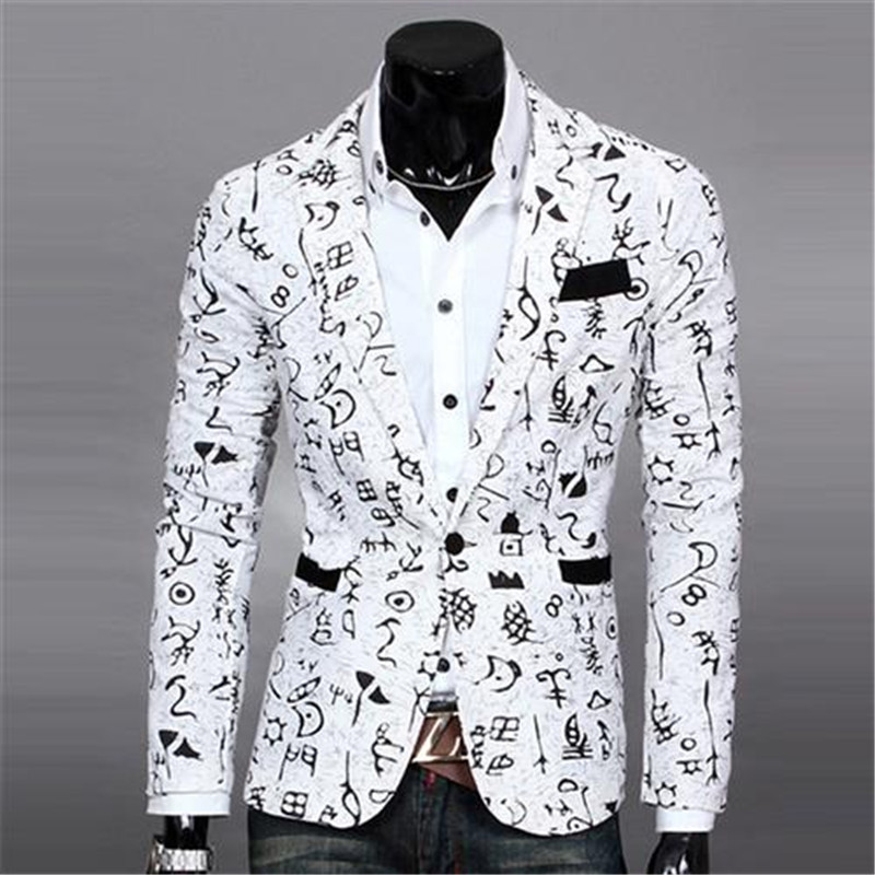 Mens Floral Blazer Linen Jacket Stylish Casual Dress