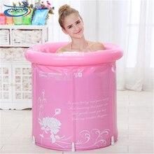 65 * 70cm Tjock vikta badkar, uppblåsbara badkar med lock, vuxenbad, barnbad YR6570 PVC Plastmaterial Badrumsprodukt