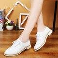 2017 Весна Женщины Оксфорды Обувь Из Натуральной Кожи Повседневная Обувь Женщины Мягкие Кожаные Квартиры Лодка Обувь Мокасины Белые Туфли