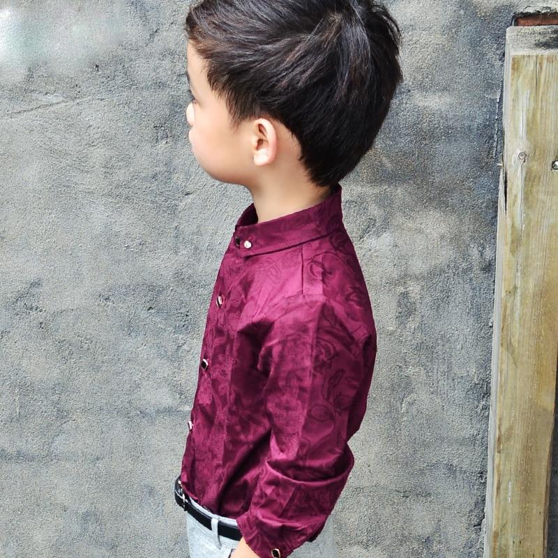 Boys Blouses Dress Shirts boys long sleeve Children Shirt Baby Kids Wedding Clothes Boys Formal Dress Shirts Boys Tops 5