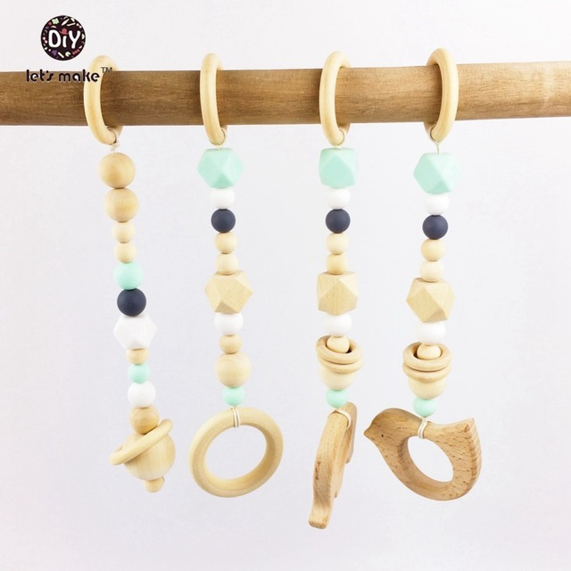 Let's Make 4pcs Wood Baby Play Gym Ball Bird Beech Baby Teething Beads Silicone Bed Toys Child Montessori Baby Necklace Pendant