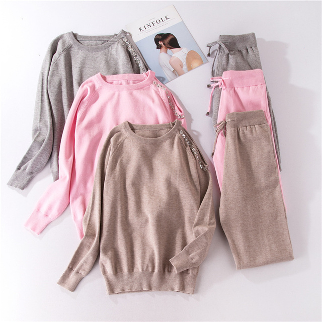 Autumn Winter Knitted Tracksuit Beaded Off Shoulder Sweatshirts Casual Women Clothing 2 Piece Set Knit Pant Sporting Suit Female