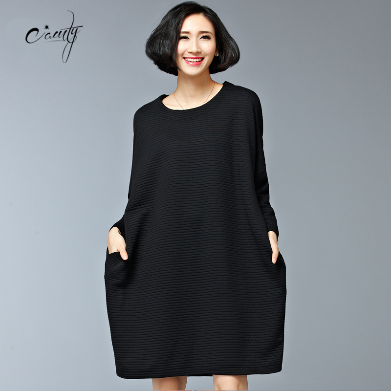 6a151d9659384 CAMTY Women Casual Dress Winter England Style Striped Veined Pure Color Plus  Size Dress Fit 50~75 KG Weight-in Dresses from Women s Clothing on ...
