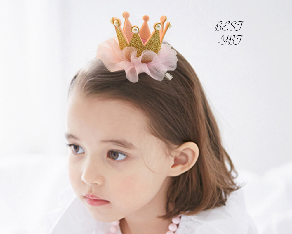 Lovely Girls Lace Hair Accessories Grid Yarn Princess Crown Hair Clip Children Accessories Baby Hairpins m mism new arrival girls yarn hair accessories pearls crown shaped fabric hairpins bb christmas dancing party princess hair clip