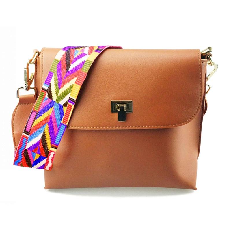 DAUNAVIA Hot Sale Women Leather Mini Shoulder bags Simple Flap Sling Crossbody Messenger Bags Colorful Wide Strap Handbag