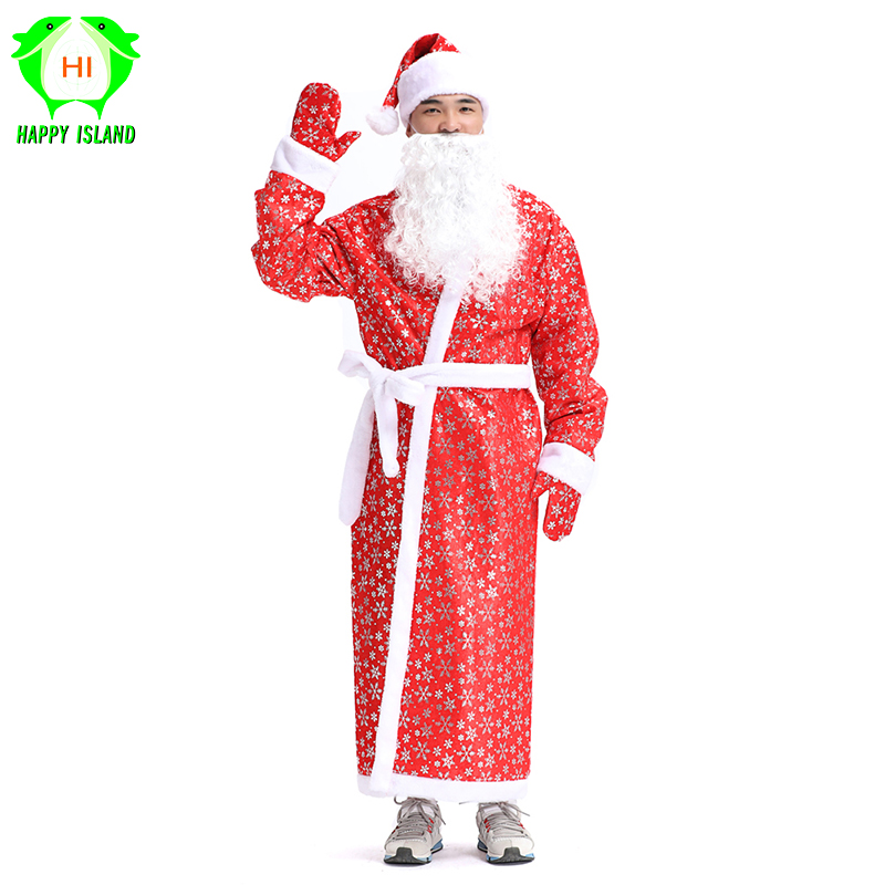 Russia Christmas Santa Claus Costumes Cosplay Santa Claus Clothes Fancy Dress In Christmas Men 5pcs/set Costume Suit For Adults