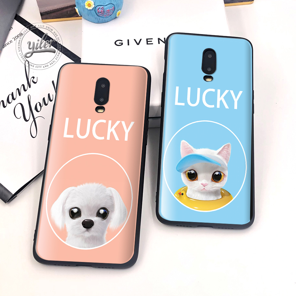 Cute Dog For Case Oneplus 6T Cover Lucky Cat Black Soft silicone TPU Case for Oneplus 6T Shell for Oneplus 7 Phone Cover Funda in Fitted Cases from Cellphones Telecommunications