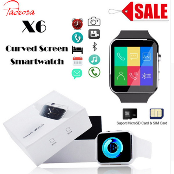 купить Hot Bluetooth Smart Watch X6 Sport Passometer Smartwatch with Camera Support SIM Card Whatsapp Facebook for Android Phone по цене 769.73 рублей