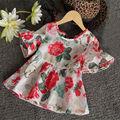 Moda Para Bebés Niños Niñas Floral Del Volante de la Camisa Ocasional Superior Blusas Shirt 1-6Y