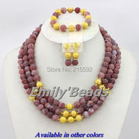 2014 New Fashion Nigerian Beads African Wedding Bridal Necklace Bracelet Earrings Jewelry Set 3 Layers Free