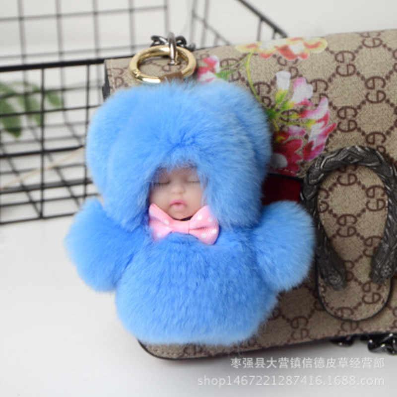 11cm bonito dormir bebê boneca chaveiro real rex pele de coelho chaveiro fofo pom pom chaveiro saco trinket carro feminino presente ys013